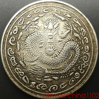 Qing Dynasty Dollar Ancient coin Empress Dowager Cix Dragon  Diameter 1 1/2""
