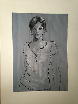 original drawing in charcoal and chalk 'Young Girl' circa end of 20th Century
