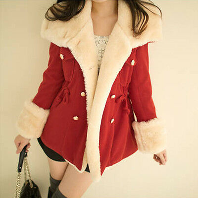 Winter Fashion Warm Double-Breasted Wool Blend Jacket Women Coat Red L