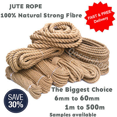 100% Natural Jute Rope Cord Braided Twisted Boating Garden Decking Fitness Gym