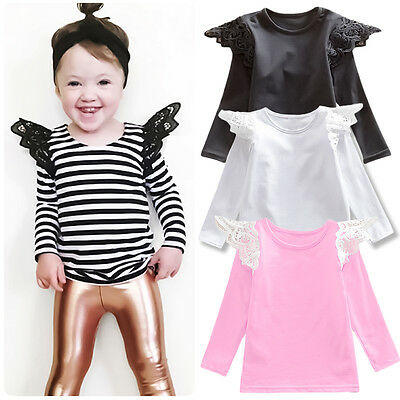 Fashion T-shirt Toddler Kid Baby Girl Clothes Long Sleeve Lace Cotton Top Blouse
