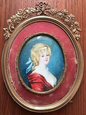 Antique Miniature Portrait Painting Of A Lady In Ornate Brass Frame- Artist Sign