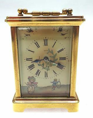 Rare Antique Drocourt 8 Day Ormolu Carriage Clock Hand Painted Dial Signed C1890