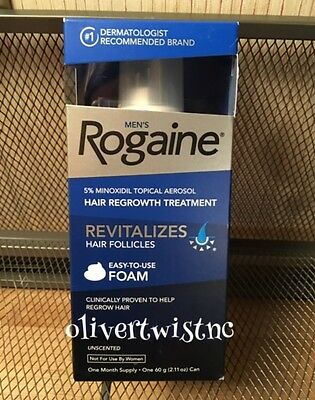 ROGAINE MENS FOAM 5% MINOXIDIL 1 Month Supply 2.11 oz Can in Box EXP JULY 2019