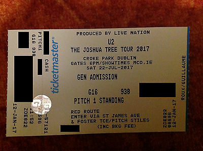 U2 Croke Park Dublin - Pitch 1 standing red route ticket 22.07.2017