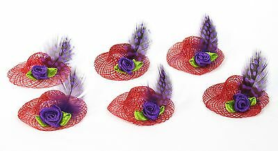 Red Hat Party Favor Set of 6 Purple Guinea Feather Flower Red Hat Society Ladies