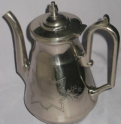 "ANTIQUE SILVERPLATED COFFEE POT WILCOX SP CO., MERIDEN, CONN, CA 1880's ""BAGLEY"""