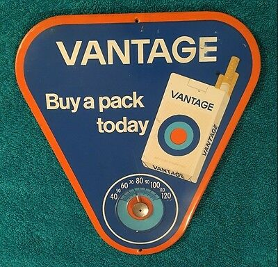 "Vintage Vantage Cigarettes Tin Sign New Old Stock Thermometer 9.5"" x 9"" USA"