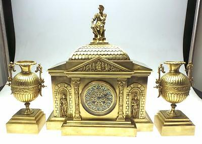 Antique 8 Day French Architectural Ormolu Mantel Clock Clock Set With Garnitures