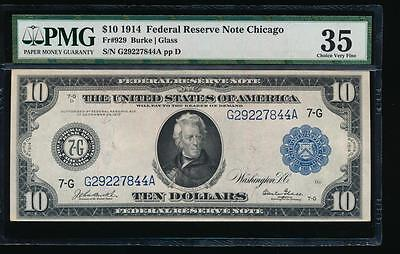 AC Fr 929 1914 $10 Chicago FRN PMG 35 Burke/Glass
