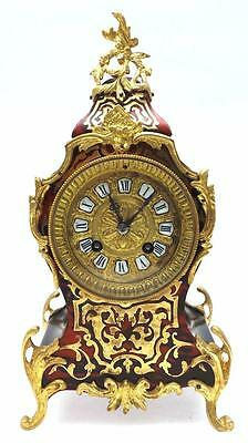 French Ormolu Red Shell & Boulle Mantel Clock Cartouche Porcelain & Brass Dial
