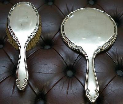 Sterling Silver Handheld Mirror And Matching Hairbrush Antique Find Nice Patina