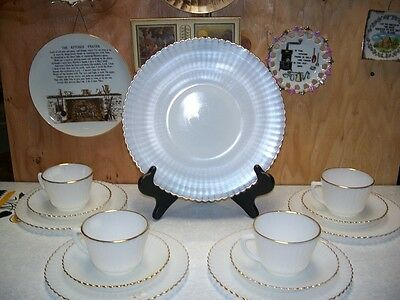 MacBeth Evans Petalware White with Gold Trim Luncheon Set 9 Pieces
