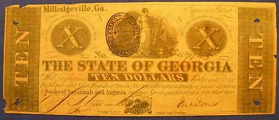 1862 The State Of Georgia at Milledgeville Ten Dollar Note No 47945