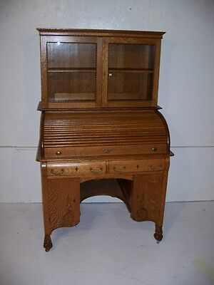 Beautiful Quarter Sawn Oak Macy Bookcase top Roll Top Desk