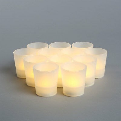 12 Mini Flameless Flickering LED Candles Votives Party Tea Lights with Batteries