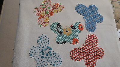 Lot of 12 Vintage Feed Sack Feedsack Butterflies Applique Quilt  Blocks Crafts