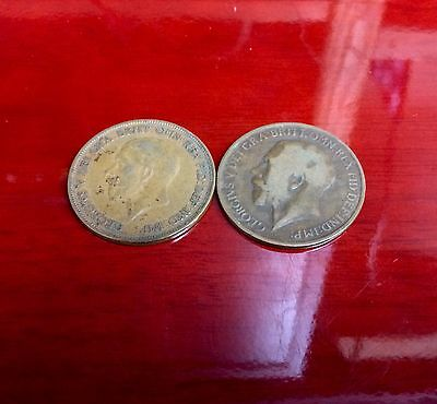 ~LOT OF 2 UK British One Penny George V 1913-1928 LOT#G243