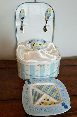 Mud Pie Prince 4 Pc. Child's Feeding Set- Plate, Cup, Spoon and Fork w/Box