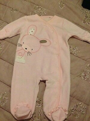 Baby Girls Next towelling cosy pink sleepsuit, 0-3 months