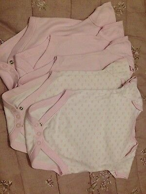 Mothercare baby girls vests, five pack pink/white size 6-9 months