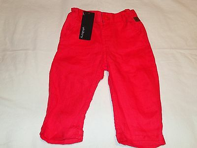 Boys red summer linen M&S trousers size 9-12 months BNWT