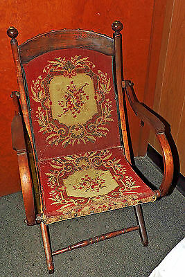 Unique Antique Victorian Wood Folding Chair Carpet Upholstery Red Tan