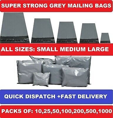 "STRONG GREY MAILING BAGS POST POSTAL POLY POSTAGE SELF SEAL 14x19"" 17x24"" 22x30"""