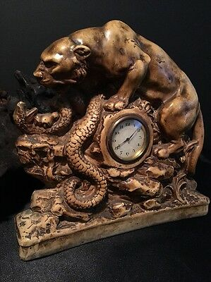 Antique Clock / Iconic Panther Battling Snake / Signed And Numbered