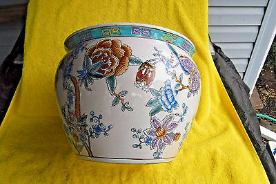 Chinese Painted Koi Fish(Inside)Flowers(Outside)Large Unmarked Planter! Ceramic?