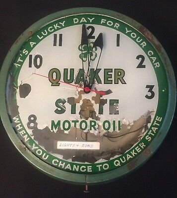 """1957 QUAKER STATE MOTOR OIL Advertising Lighted Clock LUCKY DAY FOR YOUR CAR 15"""""""