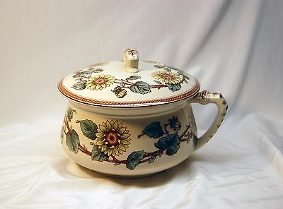 Antique Chamber Pot with Lid - Sunflowers