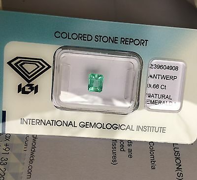 Natural Loose Colombian Emerald 0.66ct Green IGI Certified Blister RARE Gem
