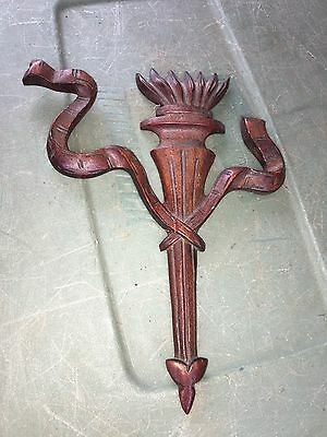 """1930's 8 1/2"""" Torch & Ribbon Carved Wood Pediment"""
