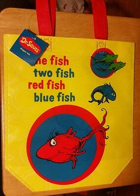 Dr Seuss  One Fish Two Fish Red Fish Blue Fish Vinyl Party Tote Gift Bag Shopper