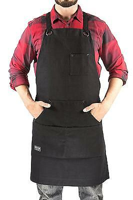 Heavy Duty Waxed Canvas Work Apron Black Adjustable up to XXL Men & Women NEW