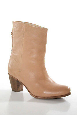 Humanoid Nude Round Toe Leather Stitch Trim Ankle Boots Size 39 9 NEW IN BOX