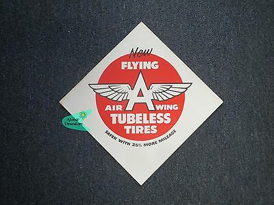 Vintage 1950s FLYING A AIR WINGS TUBELESS TIRES CARDBOARD SIGN