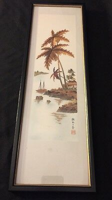Chinese Wall Art Framed Silk Paint Embellishments Signed PALM TREES BOATS HARBOR