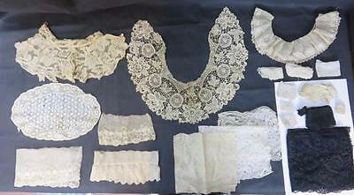 20+ Lot ANTIQUE LACE Bobbin/Crochet 4 VICTORIAN COLLARS Ecru Ivory Black TRIM +