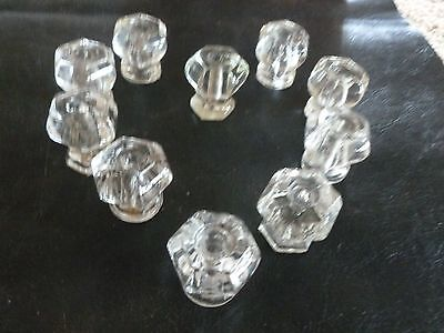 Antique/Vintage 6 sided 1 inch  clear glass  set of 10 cabinet knobs
