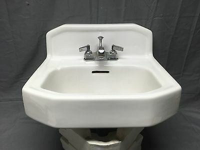 Vtg Mid Century Art Deco Wall Mount White Porcelain Ceramic Kohler SInk 231-17E