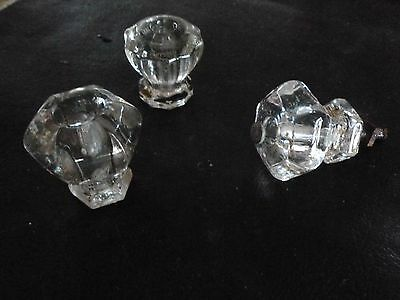 Antique/Vintage Clear Glass Cabinet Knobs 1 1/4 diameter but different