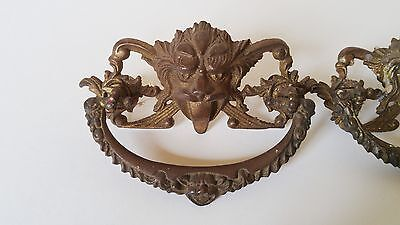 Antique Lion Head Griffin Brass Dresser Pulls Desk Drawer Handles Vintage Pair