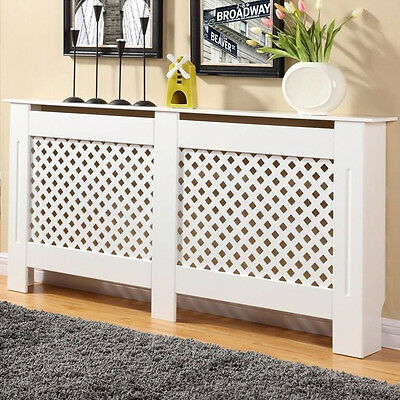 White Painted Radiator Cover Cabinet Wood MDF Traditional Modern Extra Large