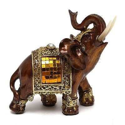 "Feng Shui 4.7"" Resin Elegant Elephant Trunk Statue Wealth Lucky Figurine Ornate"