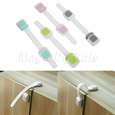 1pc Kids Child Baby Safety Cabinet Fridge Drawer Catch Lock Proof Double Button