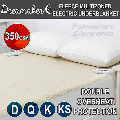 Fleece MUTIZONE Electric Fully Fitted Multi-Zoned Underblanket Blanket DOUBLE