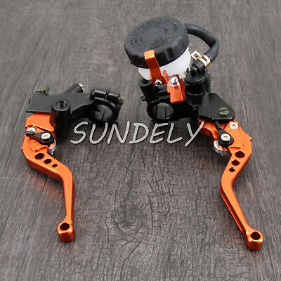 "7/8"" Universal Orange Motorcycle Brake Master Cylinder Clutch Lever Reservoir"