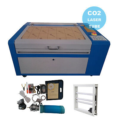 50W CO2  USB Laser Engraving Machine Engraver Cutter w/ Auxiliary Rotary Device